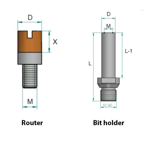 "KDrills - Routers for cut in several steps Bits Holder 1/2"" gas"