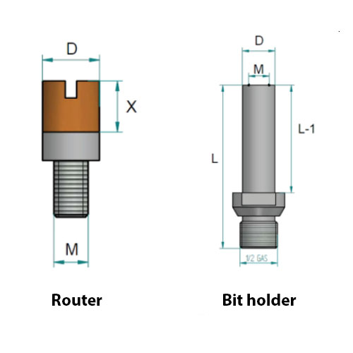 """KDrills - Routers for cut in several steps Bits Holder 1/2"""" gas"""